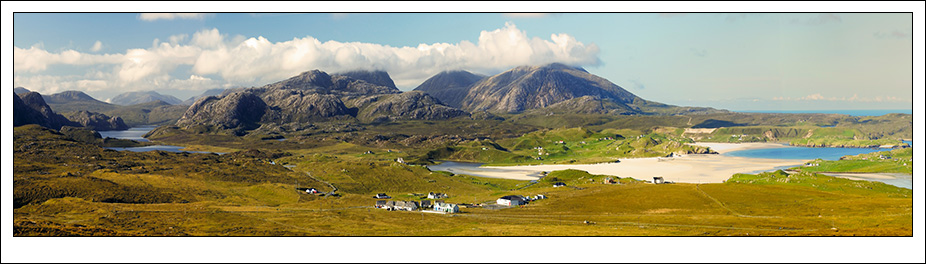 Panoramic photo of Uig on the West coast of The Isle of Lewis in the Outer Hebrides